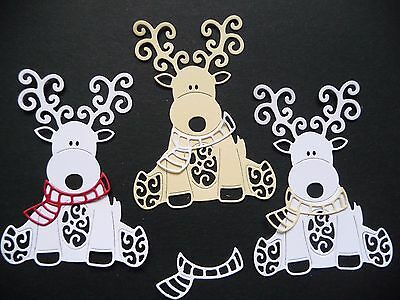 Die Cut Cuts Baby Reindeer (x6) Christmas Card Making Scrapbooking Topper