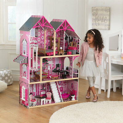Large Dollhouse with 16 Pieces of Furniture Pink Girls Toy