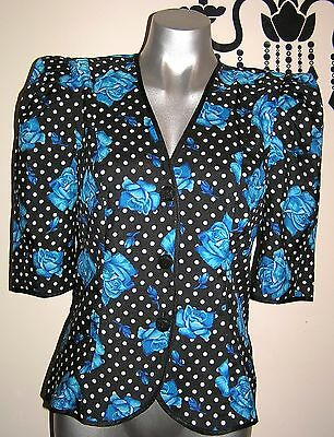 VINTAGE 80's  HOTTEST PUFF SLEEVE POKLA DOT ROCKABILLY JACKET SIZE 10