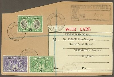 1933 Cayman Islands Registered Parcel front to Dartmouth. E1991