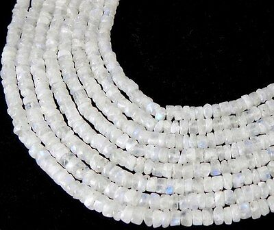 "5 Strands Natural Rainbow Moonstone Tyre 5-6mm 13"" Long Smooth Gemstone Beads"