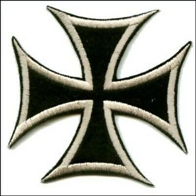 IRON CROSS EMBROIDERED IRON ON PATCH maltese cross outlaw biker chopper german
