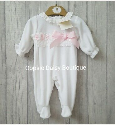 Baby Girls Stunning Spanish Pink Ribbons & Lace Velour Romper Mintini Baby