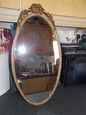 Vintage oval mirror Gold metal cast frame 56x30cm all original