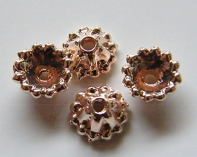 30pcs 7x4mm Metal Alloy Bead Caps - Rose Gold