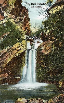 THE NESS WATERFALL CO. DERRY LONDONDERRY IRELAND POSTCARD by JAS. HEMPTON & Co
