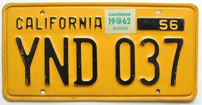 Vintage California 1956 License Plate, 1962 Sticker, YND 037