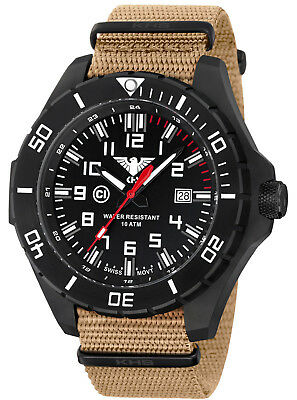 KHS Tactical Black Ops Watches Military Watch Date Swiss Movement KHS.LANSB.NT