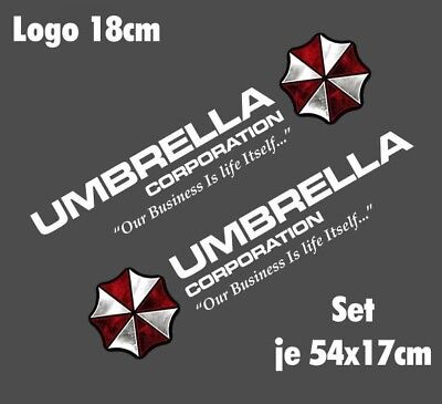 Resident Evil Umbrella Corporation Sticker Auto Aufkleber SET Car silber weiß 75