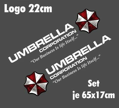 Resident Evil Umbrella Corporation Sticker Auto Aufkleber SET Car silber weiß 90