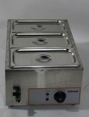Infernus Wet Bain Marie + Drain Sauce Food Commercial 1.2Kw Electric Warmer Pot