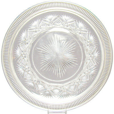 Cut Glass Plate with Sterling Rim - 1890's