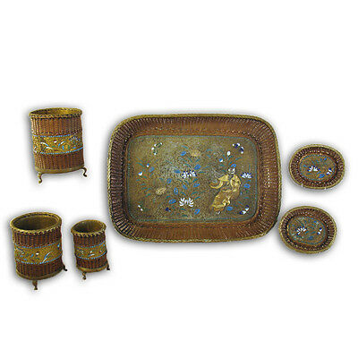 Asian Mixed Metals Enameled Tray and Accessories - 1890's