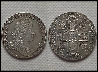 1720 King George I Half Crown NOVELTY COIN Silver Plated