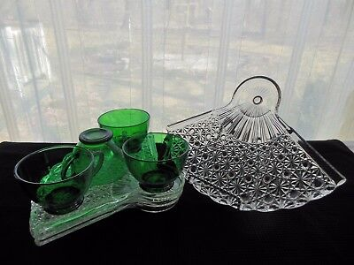 Anchor Hocking Glass 4 Clear Fan Plate & Forest Green Cup Snack Sets