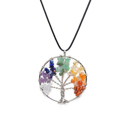 7 Chakra Healing Reiki Healing Tree of Life Natural Stone Pendant Necklace
