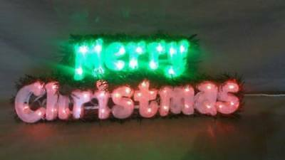 Merry Christmas Led Light Up Sign Hanging Red Green New