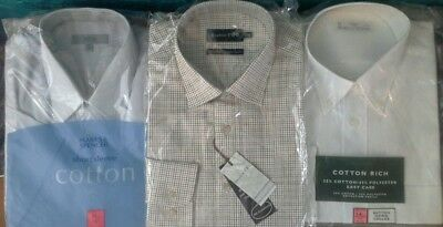 """Trio of Mens Shirts~16"""" Collar~ Marks & Spencer ~Double Two~Job lot  BNIP"""