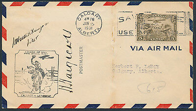 1931 AAMC #3101b Calgary to Lethbridge, Pilot and Postmaster Signed, Cover Fault