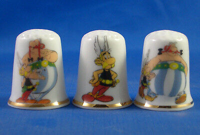 Fine Porcelain China Thimbles - Set Of Three  Asterix And Obelix