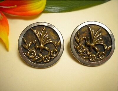 2 Antique Vtg Butterfly & Flowers White Metal Rimmed Brass Picture Buttons