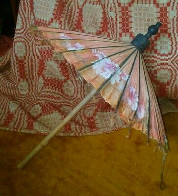 Vintage Asian Children's or Doll? Umbrella Parasol Floral Fabric Wooden