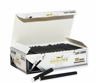 120 KORONA SLIM BLACK CARBON CIGARETTE  FILTER TUBES in 1 or 5 Boxes