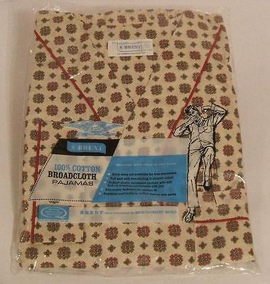 NEW NIP NWT VTG 1960s BRENT SANFORIZED BROADCLOTH PAJAMAS PJS   Sz MEDIUM