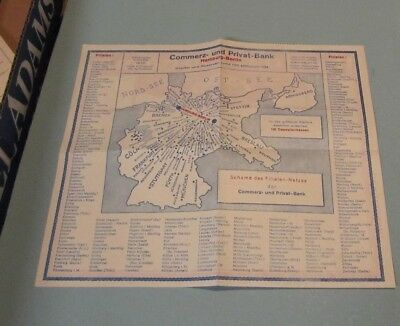 1929 Germany Hamburg Berlin Commercial and Private Bank Radio Telegram Great Map