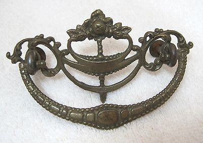 1 OLD Brass Floral & Scroll Drawer Handle Pull Fancy Thick Metal NICE!  T63