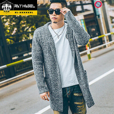 MENS Plus Size Long Trench Front Open Sweater Big knit Fleece Cardigan Jacket
