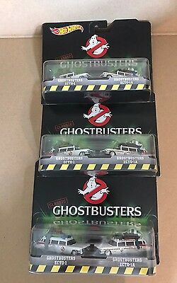NEW Lot of 3 Hot Wheels GHOSTBUSTERS ECTO-1 / ECTO-1A Vehicles, Retro 2 Pack