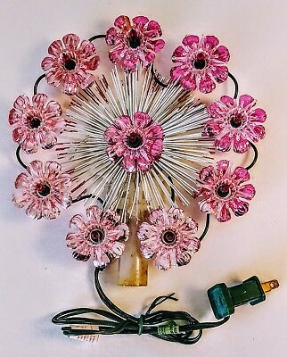 """Vintage Christmas Tree Topper Round 10 Lights Shiny Pink Color 8"""" All Light On"""