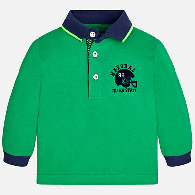 Mayoral Infant Boys Long Sleeved polo shirt in Green (02127) aged 18,24 months