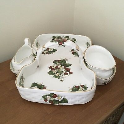Hammersley & Co Large Strawberry Tray Dish With Handle Cake Cream And Jam Dish