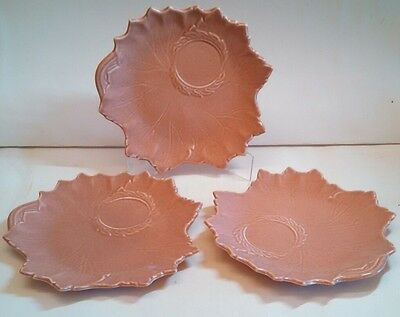 Russel Wright WOODFIELD STEUBENVILLE Coral Salmon Pink Luncheon PLATE leaf