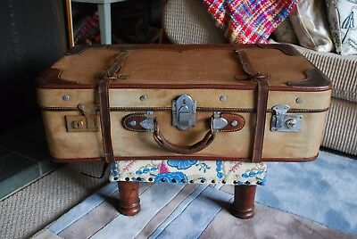 Vintage retro large canvas and leather suitcase/trunk fabulous sky blue lining