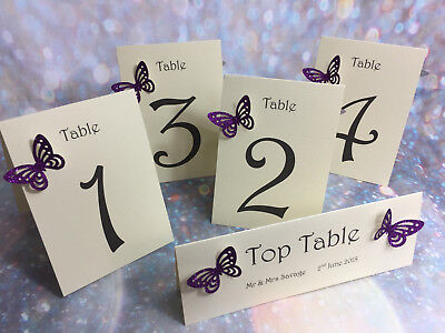 Glitter Butterfly Wedding Table Numbers **27 colours**
