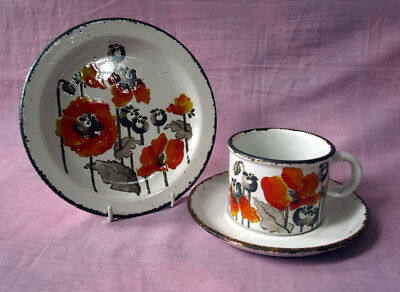 Midwinter 'Autumn' Stonehenge range. Cup, saucer and side plate 1970s.