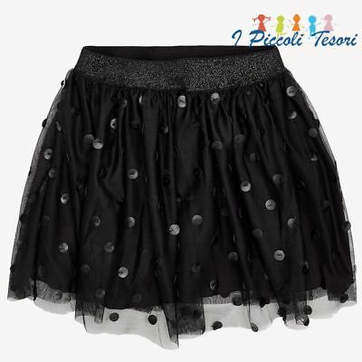 Gonna gonnellina short tulle nera nero ecopelle pois bimba bambina MAYORAL 7907
