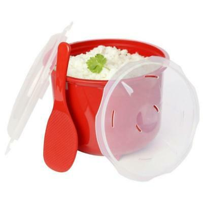 Microwave Rice Steamer With Spoon Lid Lock Kitchen Cooker 2.6L BPA Free 19cm Red