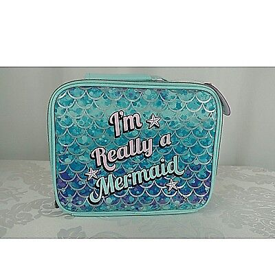 Justice Mermaid Lunch Tote Box Insulated Aqua Blue Girls 2-Sided New NWT