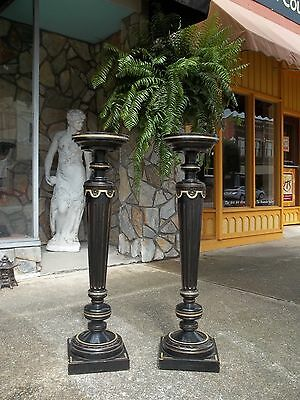 Fantastic Ebony And Gold Gilded Victorian Pedestals 19th century