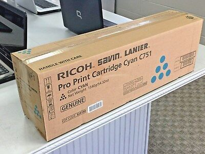 GENUINE RICOH SAVIN LANIER Pro Print Color Toner Cartridge Cyan C751, NEW IN BOX