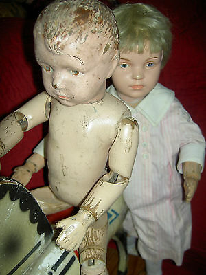"Early Schoenhut jointed wood CARVED HAIR boy doll, ""Transitional Model"" 16/204"