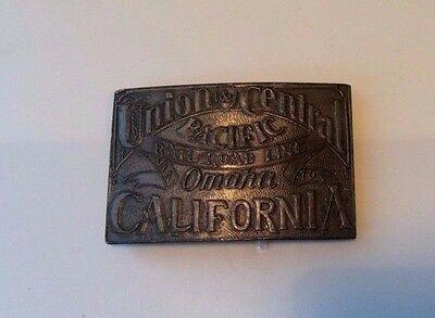 Vintage Union Central pacific Railroad Line Omaha California Belt Buckle