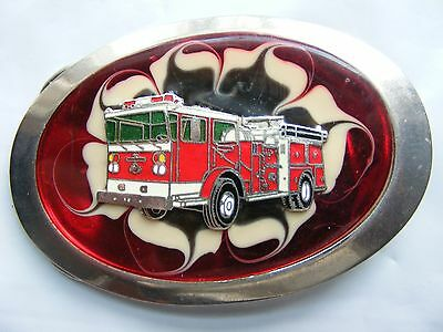 Red FIRE ENGINE TRUCK  SILVER TONE BELT BUCKLE.  Silver Tone