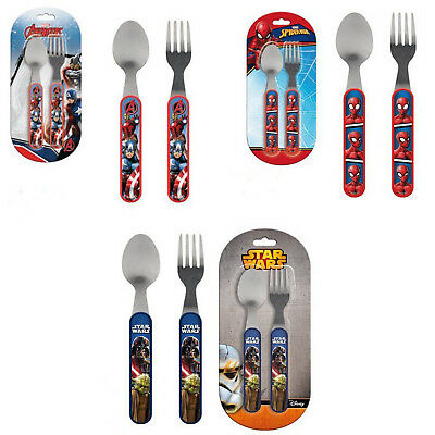 Cutlery Set 2 Pcs Marvel Avengers Spiderman Star Wars Stainless Steel Fork Spoon