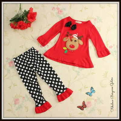Baby Girl Toddler Cute Reindeer 2 Piece Christmas Kids Children Occasion Outfit