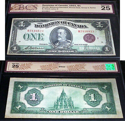 Dominion Of Canada  $1 , Large Banknote With Beautiful Images